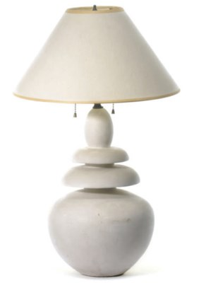 A PLASTER TABLE LAMP,