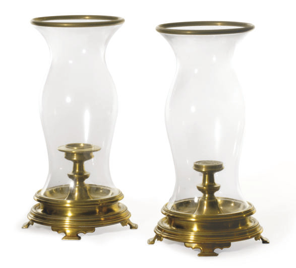 A PAIR OF BRASS AND GLASS PHOT