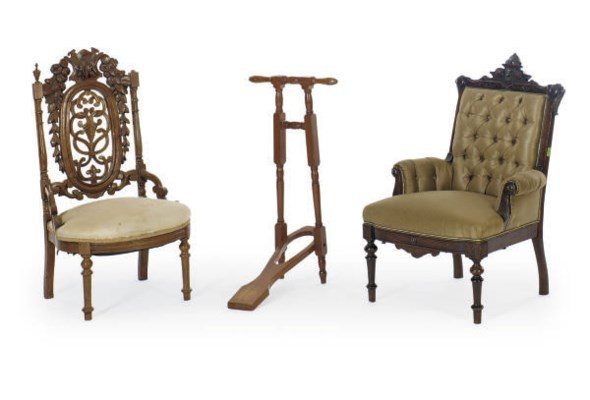 TWO VICTORIAN WALNUT LOW CHAIR