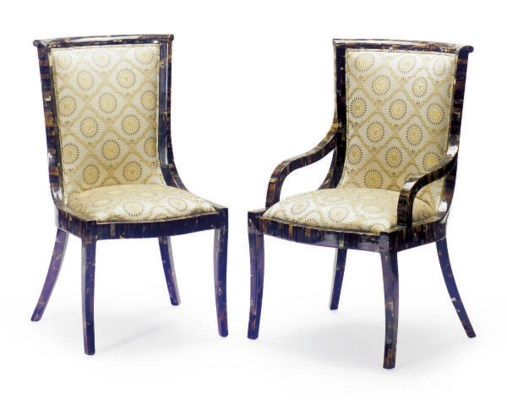A SET OF HORN AND UPHOLSTERED