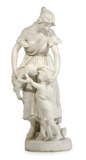 A WHITE MARBLE FIGURAL GROUP O