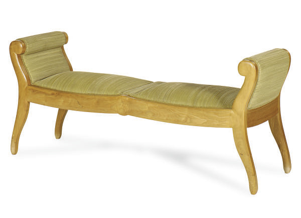 A FRUITWOOD AND UPHOLSTERED BE