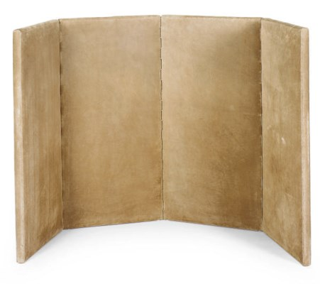 A SUEDE FOUR-PANEL SCREEN,