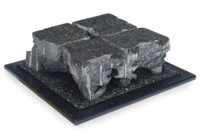 A BLACK MARBLE AND EBONISED LO