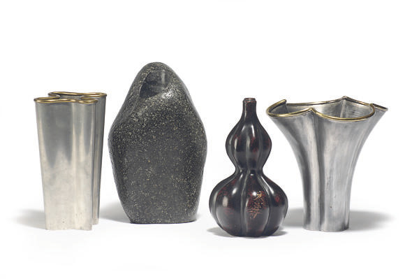 TWO PEWTER AND BRASS VASES,