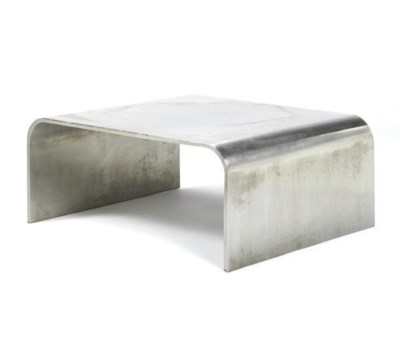 A POLISHED STEEL LOW TABLE,