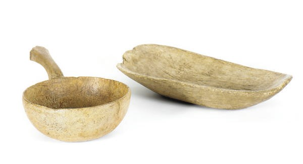 TWO CARVED WOOD VESSELS,