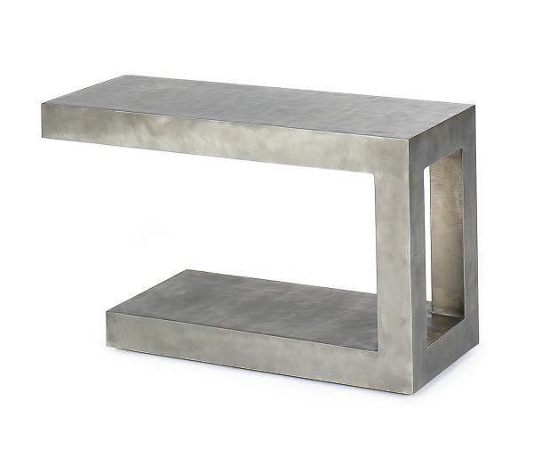 A POLISHED STEEL SIDE TABLE,