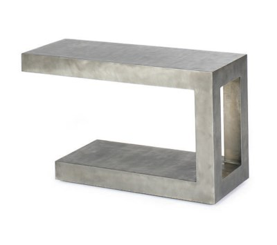 A POLISHED STEEL SIDE TABLE,