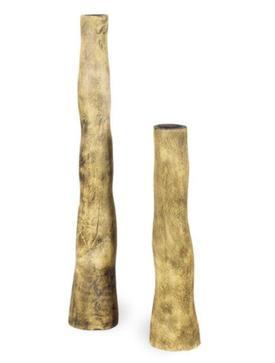 A PAIR OF TALL WOODEN VASES,