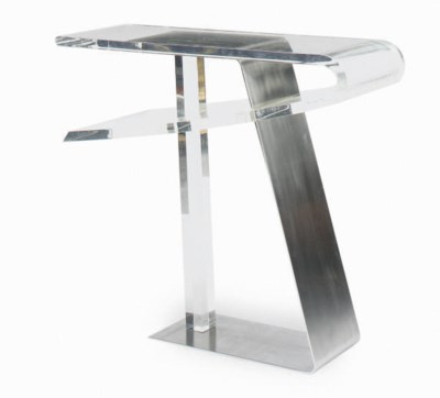 A STEEL AND ACRYLIC CONSOLE TA