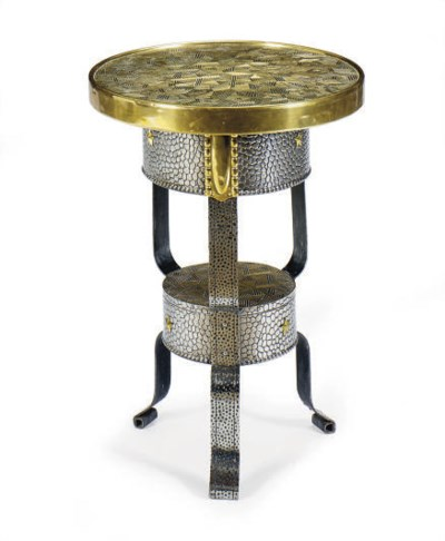A BRASS AND STEEL SIDE TABLE,