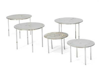 A GROUP OF FIVE CIRCULAR STEEL