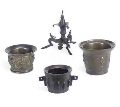 A GROUP OF THREE BRONZE MORTAR