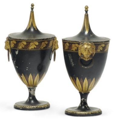 A PAIR OF REGENCY TOLE PEINTE