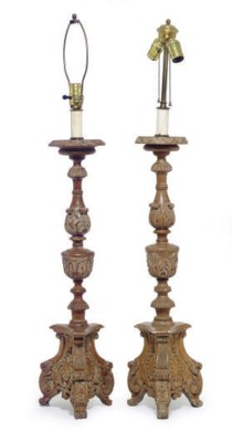 A PAIR OF PINE PRICKET STICKS