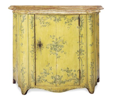 A POLYCHROME-PAINTED SIDE CABI