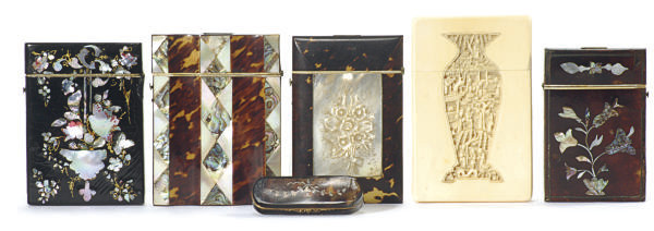 SEVEN VICTORIAN CARD CASES**,
