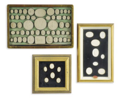 A GROUP OF FRAMED PLASTER SEAL