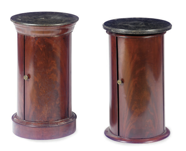 TWO MAHOGANY AND GRANITE POT C