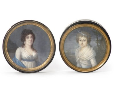 TWO FRENCH PORTRAIT PATCH BOXE