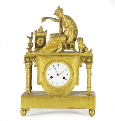 AN EMPIRE ORMOLU MANTLE CLOCK,