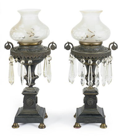 A PAIR OF FRENCH PATINATED-MET