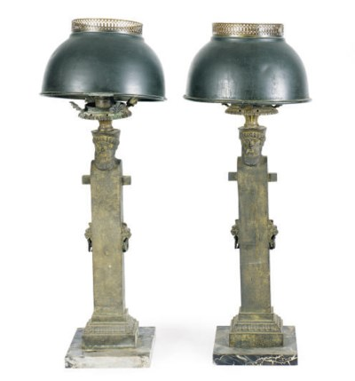 A PAIR OF PATINATED BRONZE TER