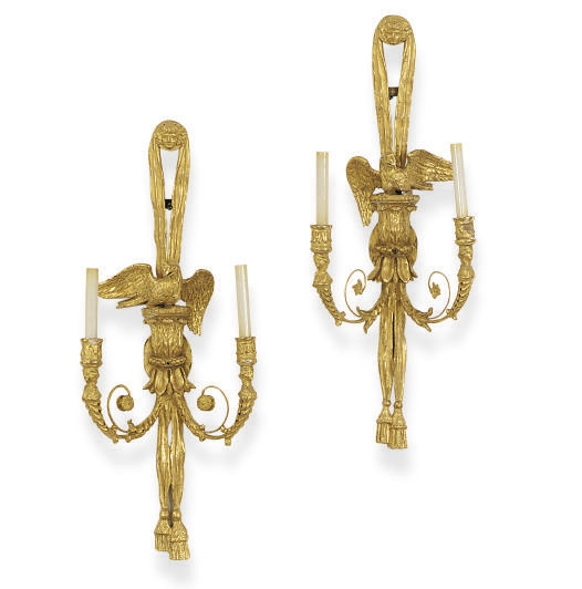 A PAIR OF GILTWOOD TWO-BRANCH