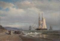 Shipping in a calm in Sandy Hook Bay