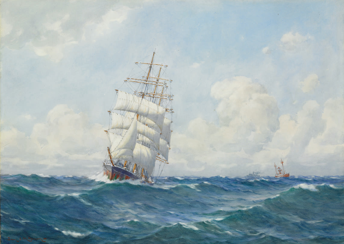 Clipper Ship in Full Sail passing a Lightship