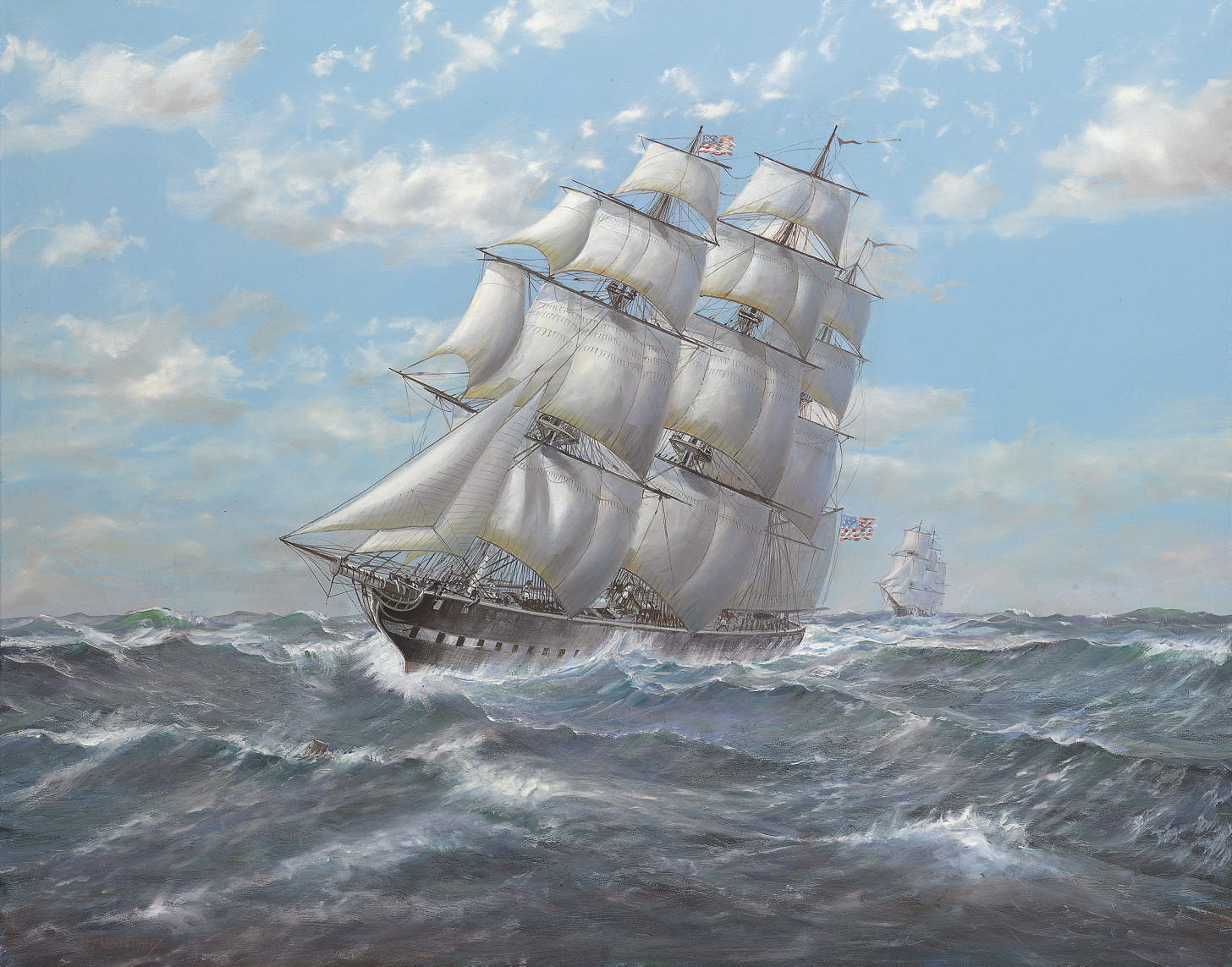 The American merchantman Euphrasia battling the elements with clipper well astern