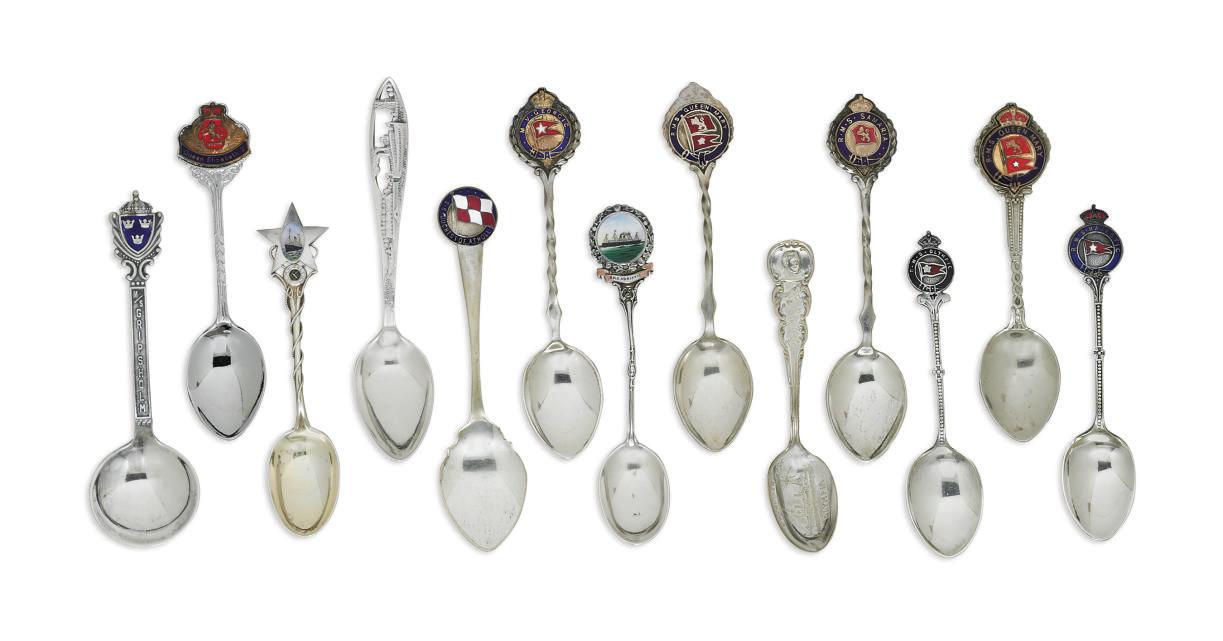 A group of silver souvenir spo