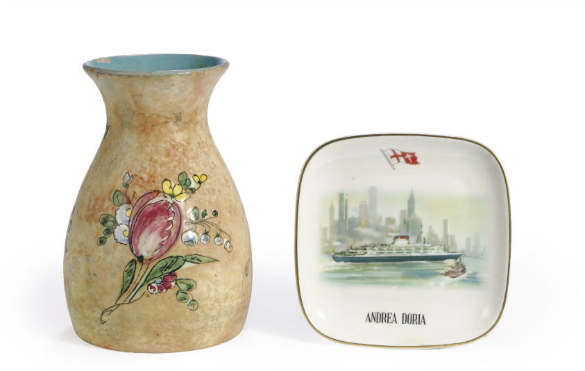 A flower vase and an ashtray f