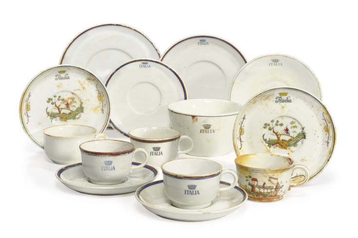 A collection of cups and saucers recovered from the wreck of the S.S Andrea Doria