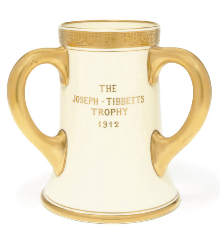 A three handled porcelain trophy for the R.M.S. Mauretania