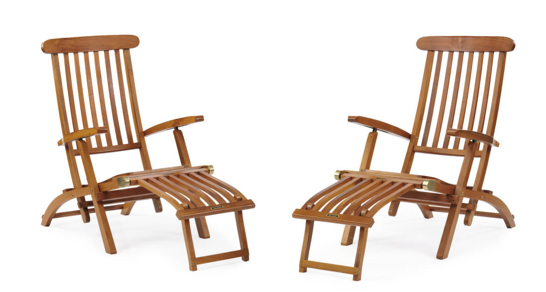 A pair of deck chairs from the