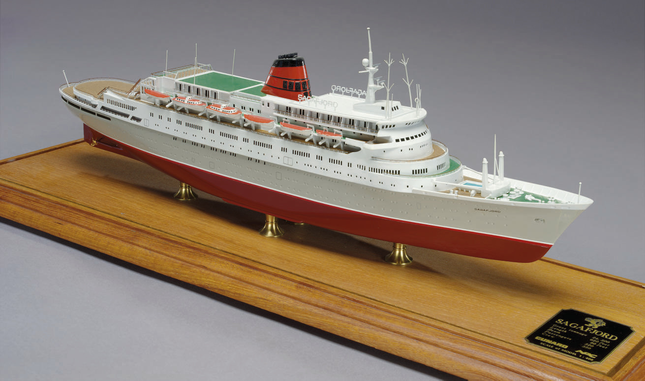 a scale model of the M.S. Saga