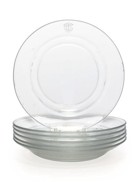 A set of six glass plates for