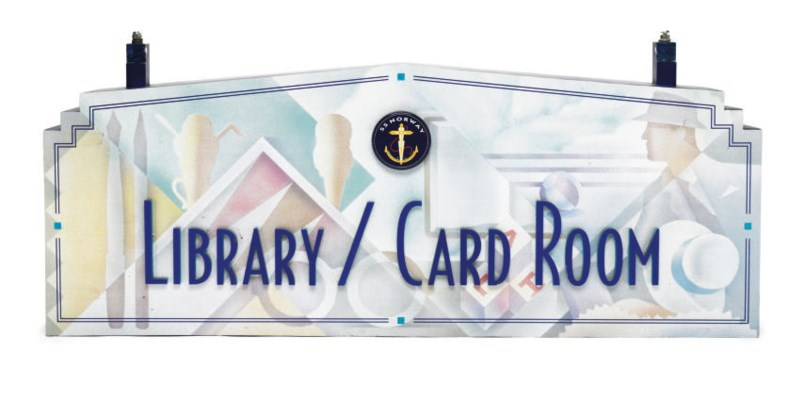 A sign for the Library/Card Ro
