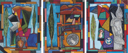 Untitled (Landscape with jug) signed and dated 'Italo Scanga 1988' (lower right) acrylic and gouache on paper in artist frame 45¾ x 35½ in. (116.2 x 90.2 cm.) Painted in 1988.  Untitled (Tree and coin) signed and dated 'Italo Scanga 1989' (lower center) gouache on paper in artist frame 45½ x 35¼ in. (115.6 x 89.5 cm.) Painted in 1989.  Untitled (Figures in profile in landscape) signed and dated 'Italo Scanga' (lower center) acrylic and gouache on paper in artist frame 45¼ x 35¼ in. (114.9 x 89.5 cm.) Painted in 1988.  (3)