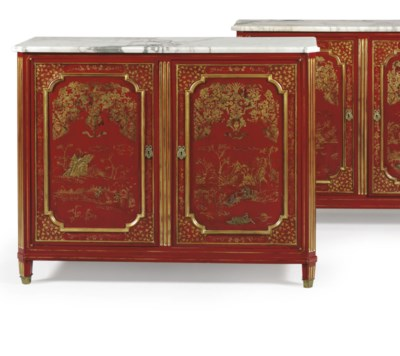 A PAIR OF FRENCH SCARLET-LACQU