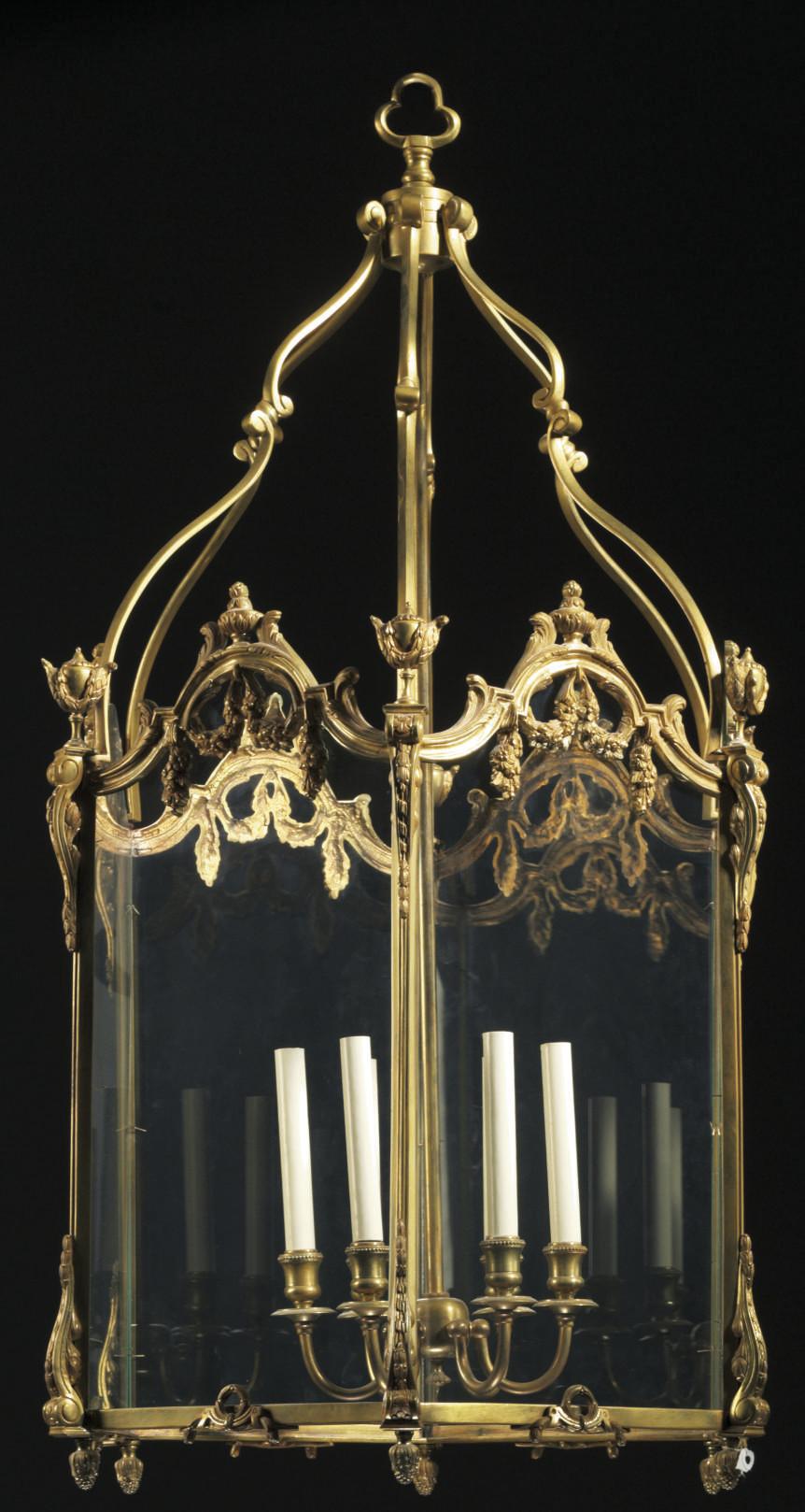 A FRENCH ORMOLU AND GLASS HALL