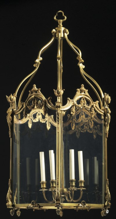 A FRENCH ORMOLU AND GLASS HALL