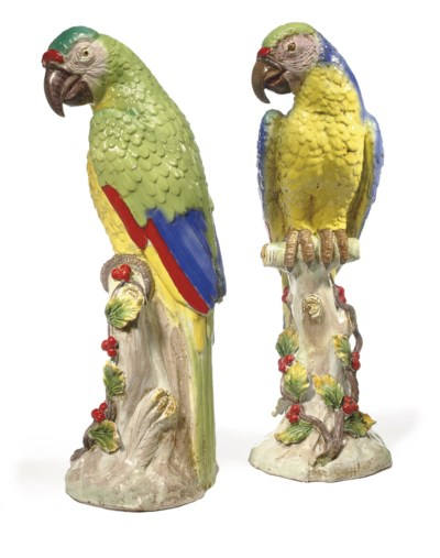 A PAIR OF FRENCH POLYCHROME-GL