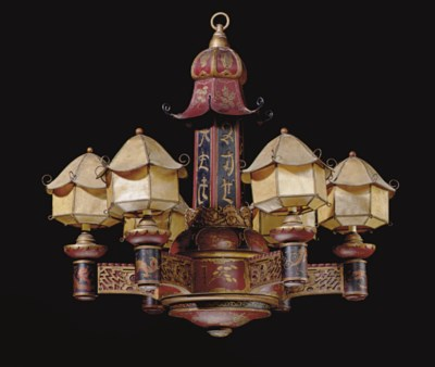 A RED, BLACK AND GILT-JAPANNED