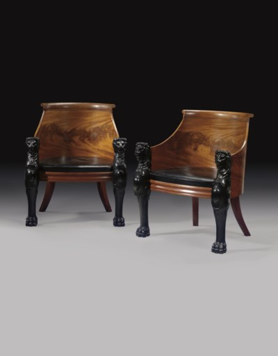 A PAIR OF MAHOGANY AND PARCEL-
