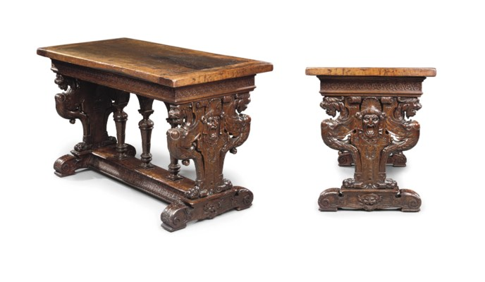 A FRENCH WALNUT CENTER TABLE