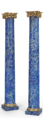 A PAIR OF FAUX LAPIS-PAINTED A