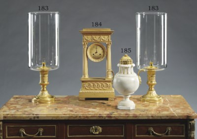 A PAIR OF FRENCH ORMOLU AND GL